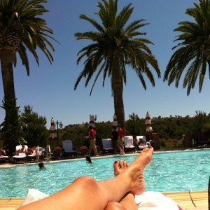 Lounging by the pool at the Grand Del Mar in San Diego