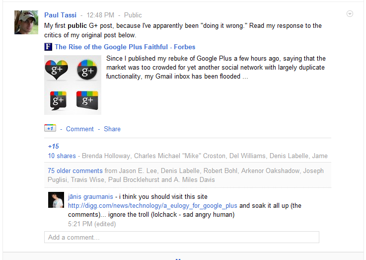 Paul Tassi's first post on Google Plus