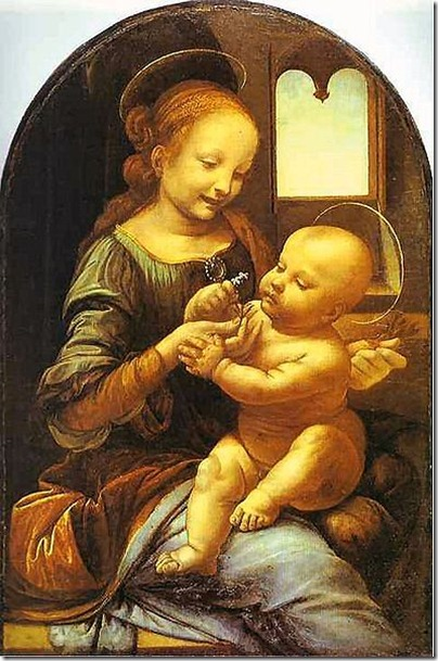 Madonna and baby jesus with a halo