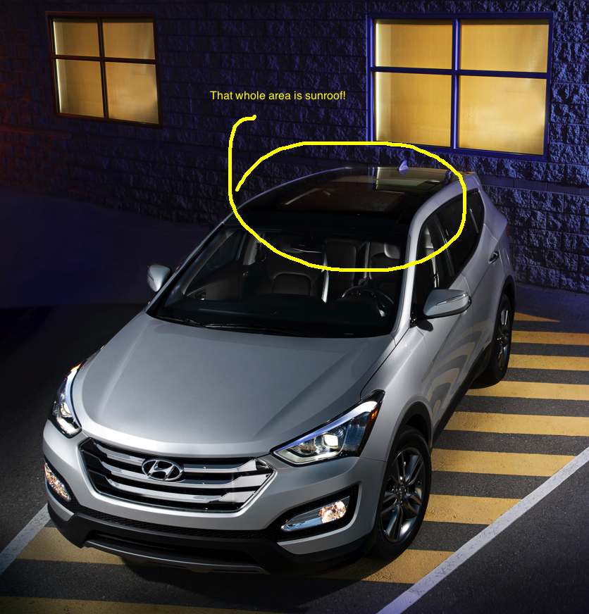 Hyundai Santa Fe 2013 features a large sunroof