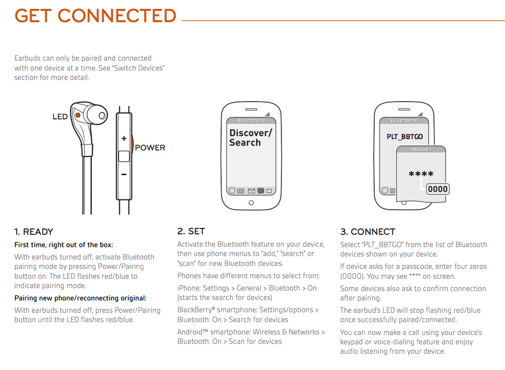 how to connect plantronics bluetooth earbuds