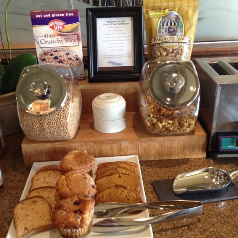 The breakfast buffet features a gluten free grains selection