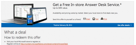 microsoft free answer desk service