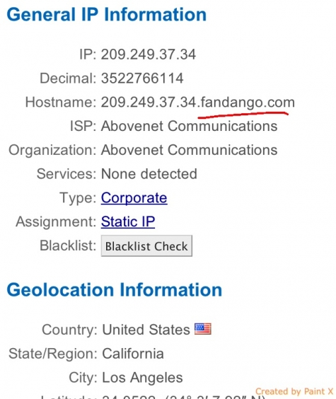 Fandango IP Address
