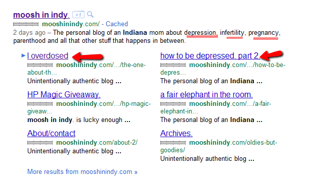 When you search for Moosh In Indy you see what she has overcome, depression, IVF, Infertility