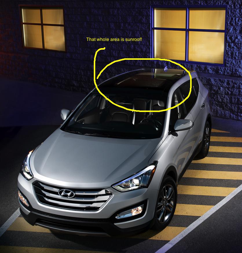 Hyundai Santa Fe 2013 features a large sunroof