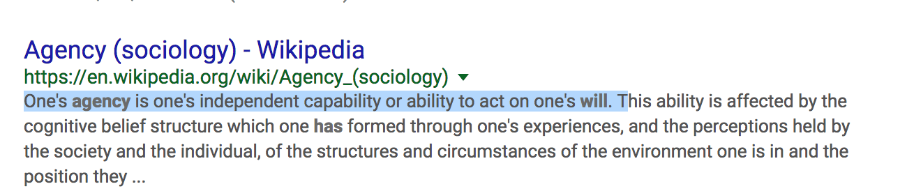 definition of agency sociology
