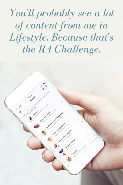 RA Healthline App has groups including lifestyle