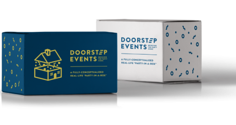 Two boxes that are printed with: Doorstep Events: A fully conceptualized party in a box