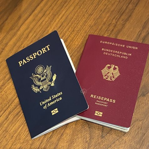 this is a photo of a German Passport and an American Passport
